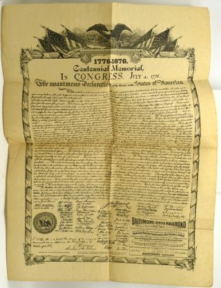 BROADSIDE] MEMORIAL BROADSIDE PRINTING OF THE DECLARATION OF INDEPENDENCE