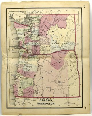 MAP OF OREGON AND WASHINGTON. Colton's Condensed Octavo Atlas of the Union