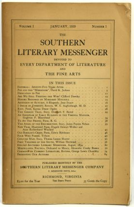 THE SOUTHERN LITERARY MESSENGER. VOLUME I, NUMBER 1. F. Meredith Dietz
