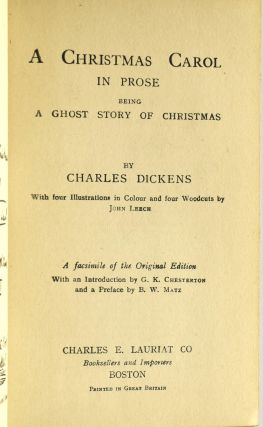 A CHRISTMAS CAROL IN PROSE. BEING A GHOST STORY OF CHRISTMAS.